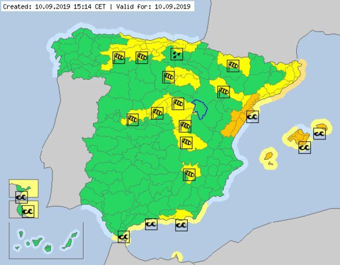 Ostrzeżenia meteorologiczne obowiązujące we wtorek (meteoalarm.eu)