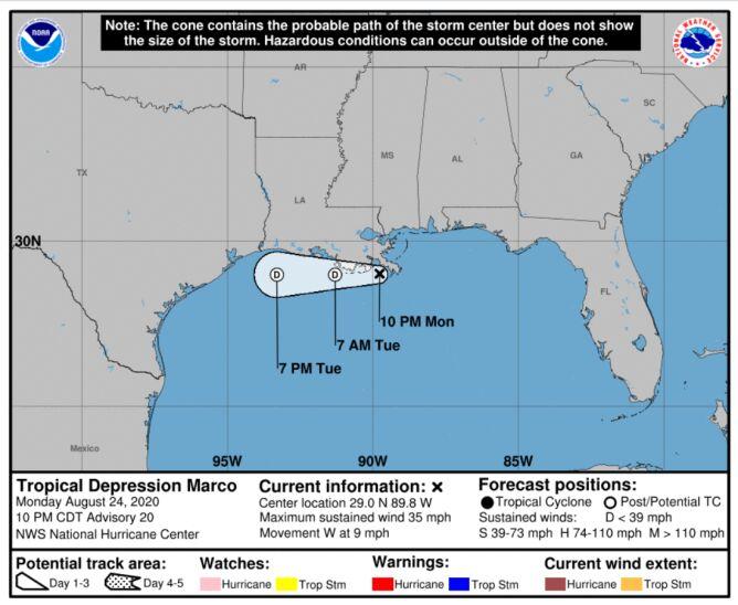 Prognozowana trasa przejścia depresji tropikalnej Marco (NOAA)